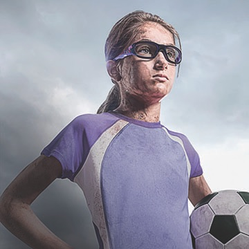 Soccer Player Wearing Athletic Glasses
